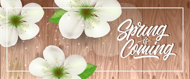 Le printemps arrive dans un cadre avec des fleurs blanches