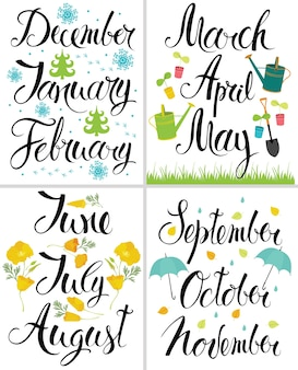 Printemps, automne, hiver, été. mois de l'année. calligraphie