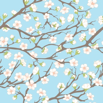 Printemps avec des branches et des fleurs.