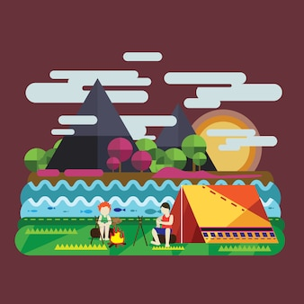 Printemps avec camping