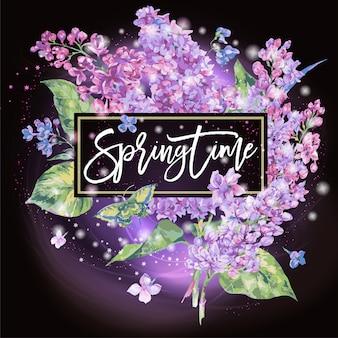 Printemps. carte de voeux de printemps floral de lilas
