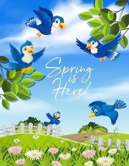 Le printemps est ici oiseau bleu
