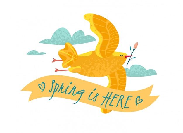 Le printemps est là, message avec illustration d'oiseau