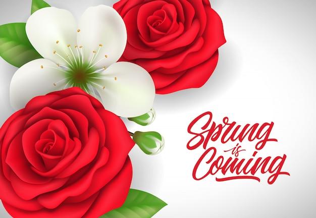 Le printemps est en train de lettrage avec des roses rouges et des fleurs sur fond blanc.