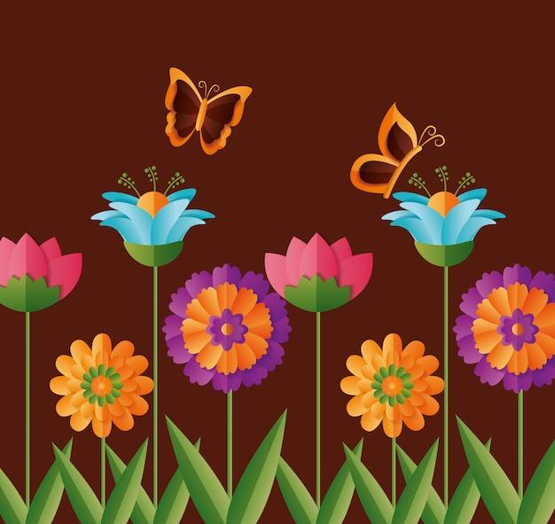 Printemps fleurs papillons