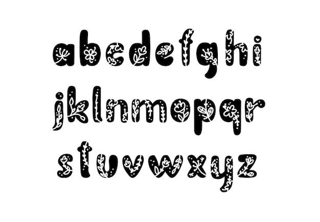 Printemps de logo de l'alphabet des lettres audacieuses florales vintage. lettre d'été abc minuscule classique. vecteur de conception