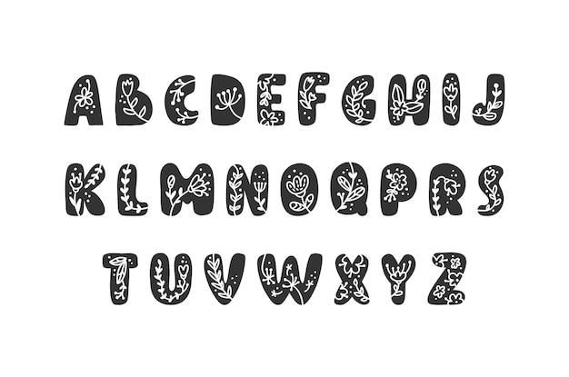 Printemps de logo de l'alphabet des lettres audacieuses florales vintage. vecteur de conception de lettre d'été abc classique avec couleur noire et floral.