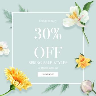 Printemps médias sociaux cadre fleurs fraîches, carte de décor avec jardin coloré floral, mariage, invitation