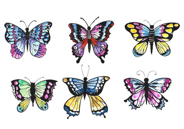 Printhand dessiner une collection de jolis papillons colorés à l'aquarelle