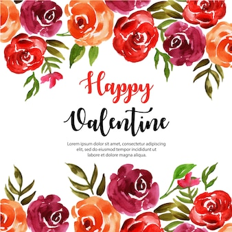 Printwatercolor valentine floral fond