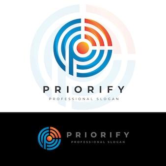 Priorize p letter logo