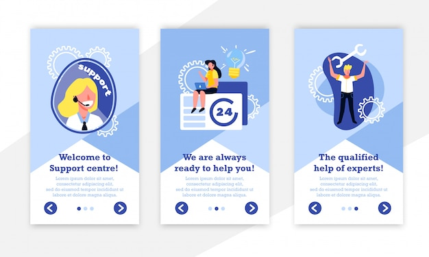 Prise en charge de la collection de bannières verticales du centre d'appels avec des icônes d'engrenage des personnages humains et du texte modifiable avec des boutons illustration vectorielle