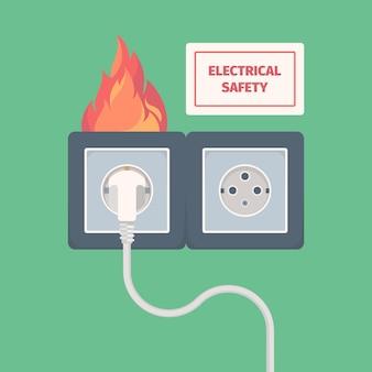 Prise électrique endommagée. incendie sur la prise d'électricité grande tension de surcharge brûlant le concept de vecteur de prise murale. danger d'incendie électrique dans l'illustration de la prise