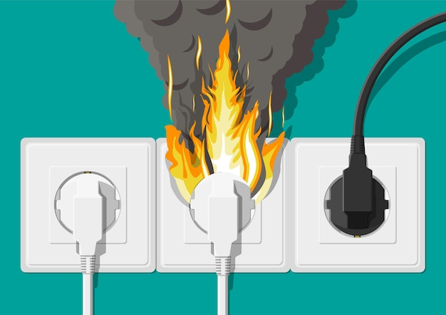 Prise électrique avec fiche en feu