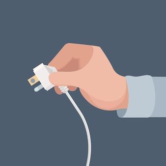 Prise électrique en main. concept de vecteur d'appareil électrique domestique d'énergie domestique de sécurité. adaptateur de câble de sécurité d'illustration, alimentation électrique de danger