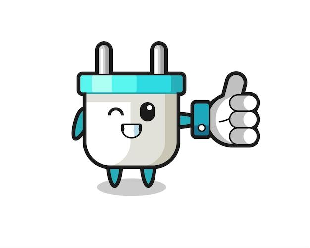 Prise électrique mignonne avec le symbole du pouce levé des médias sociaux, design de style mignon pour t-shirt, autocollant, élément de logo