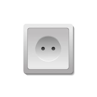 Prise électrique réaliste sur fond blanc.