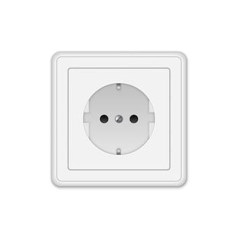 Prise électrique réaliste sur un mur blanc