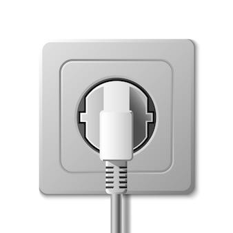 Prise électrique réaliste et prise sur fond blanc