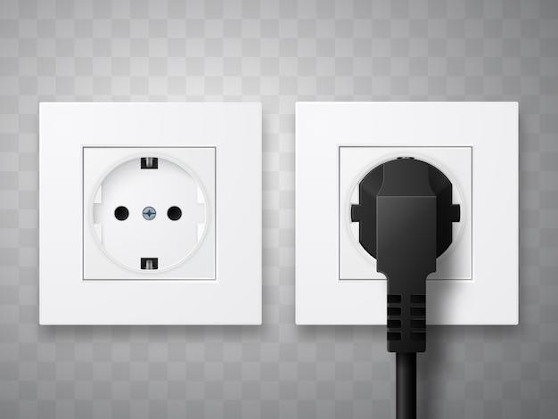 Prise et fiche insérées dans une prise électrique isolées.