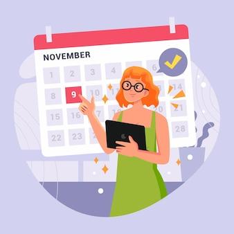 Prise de rendez-vous avec calendrier et femme