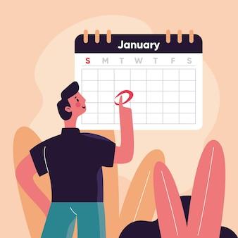 Prise de rendez-vous avec calendrier et homme
