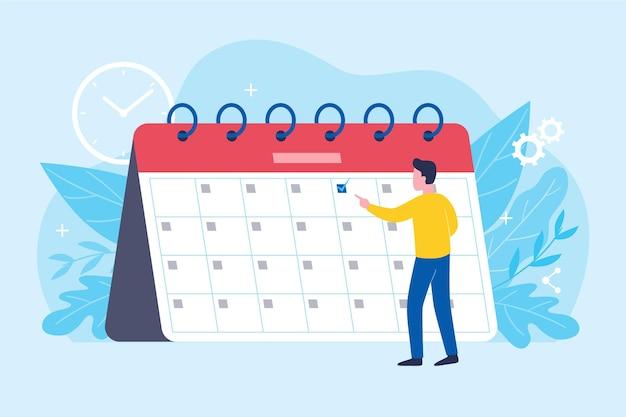 Prise de rendez-vous avec l'homme regardant le calendrier