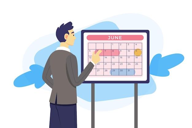 Prise de rendez-vous avec l'homme vérifiant le calendrier