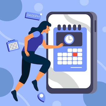 Prise de rendez-vous avec smartphone et femme qui court