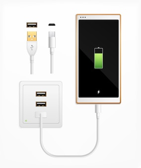 Prise usb en charge composition réaliste avec ensemble de connecteurs de câbles isolés prise de ports et smartphone