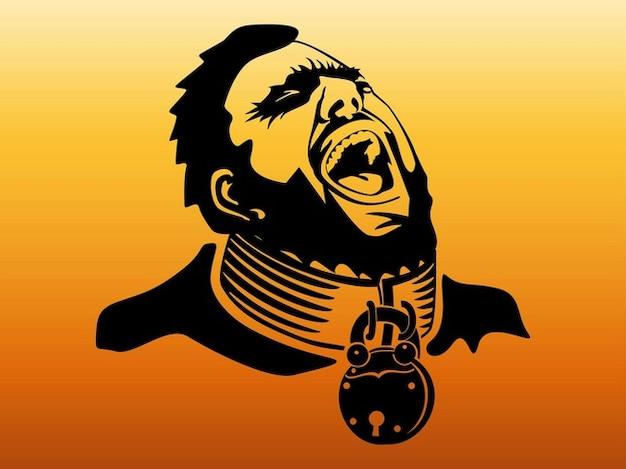 Prisonnier avec le cou enchaîné