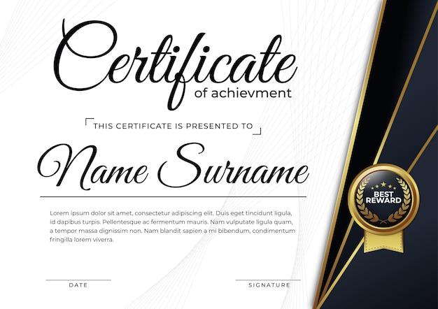 Prix d'un certificat élégant pour l'impression