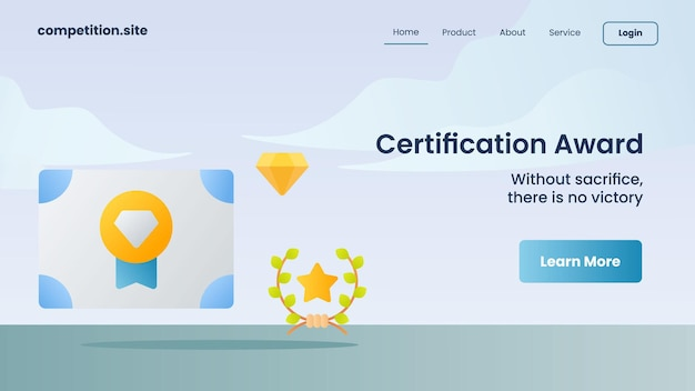 Prix de certification avec slogan sans sacrifice, il n'y a pas de victoire pour l'illustration vectorielle de la page d'accueil du modèle de site web