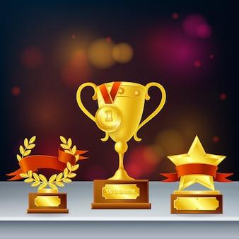 Prix composition réaliste avec des trophées pour le gagnant, couronne de laurier et étoile sur fond flou foncé
