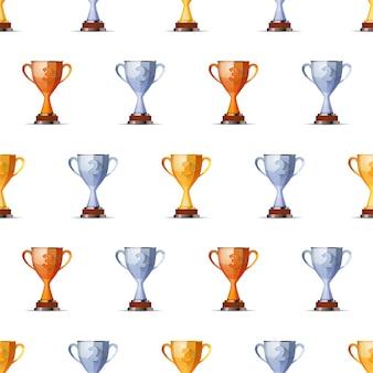 Prix des coupes des gagnants pour la première, deuxième et troisième position des gagnants sur le motif sans soudure de fond blanc