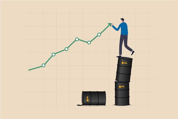 Le prix du pétrole augmente, la croissance du prix du pétrole brut après la crise, la forte demande ou le concept de l'industrie de l'énergie ou de l'essence, un homme d'affaires debout sur une pile de gallons de pétrole dessinant un graphique ascendant.