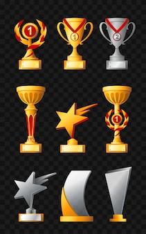 Prix un ensemble de vecteurs modernes réalistes de différentes coupes de trophées fond noir