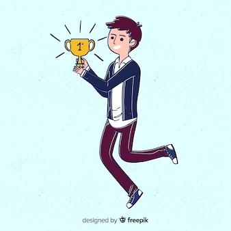 Prix gagnant de caractère heureux avec un design plat