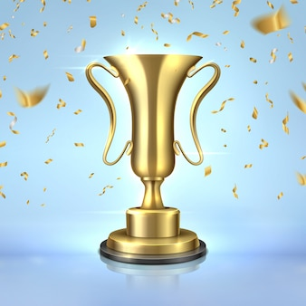 Prix d'or. coupe de champion réaliste, modèle de conception de trophée gagnant 3d, concept de leadership avec des confettis. prix d'or sur bleu