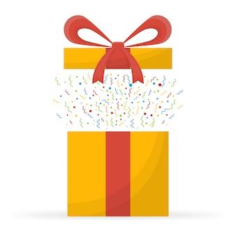 Prix spécial, cadeaux de récompense, boîte cadeau surprenante, cadeaux jaunes avec ruban rouge, concept de bonus.