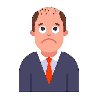Un problème avec la calvitie masculine. perte de cheveux sur la tête. illustration vectorielle plane.