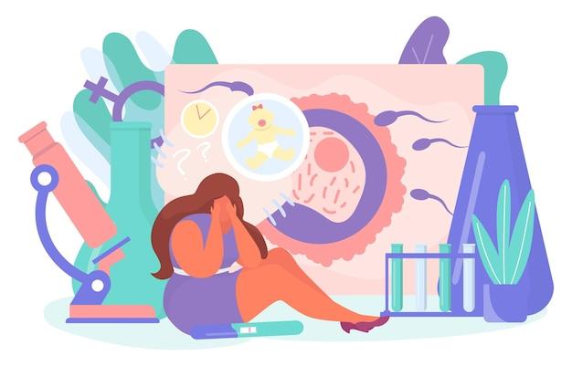 Problème mental infertilité femme personnage pleurer rêve sur les enfants minuscule stérilité femelle plat vecto...