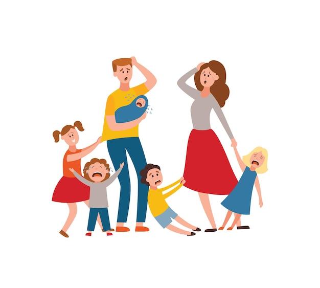 Problème parental grande famille parents fatigués