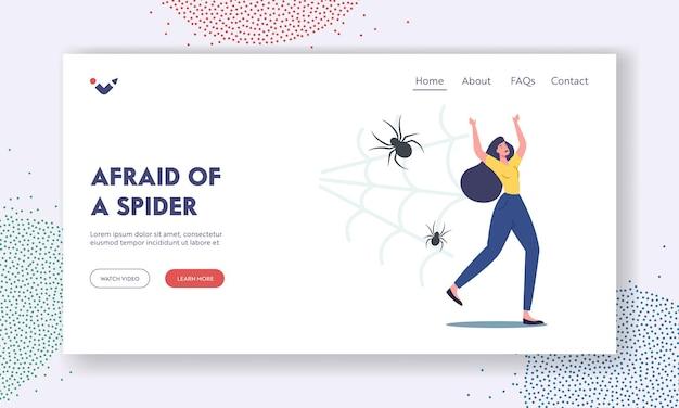 Problème psychologique d'arachnophobie, modèle de page d'atterrissage de panique. une femme qui a peur et qui crie s'enfuit de l'araignée effrayante qui a peur des insectes. peur du personnage féminin. illustration vectorielle de gens de dessin animé