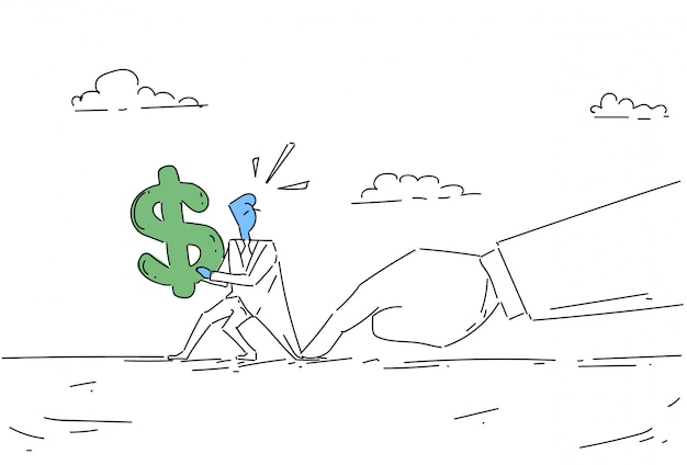 Problème de signe dollar homme d'affaires main tenir, concept de crise finance homme homme d'affaires