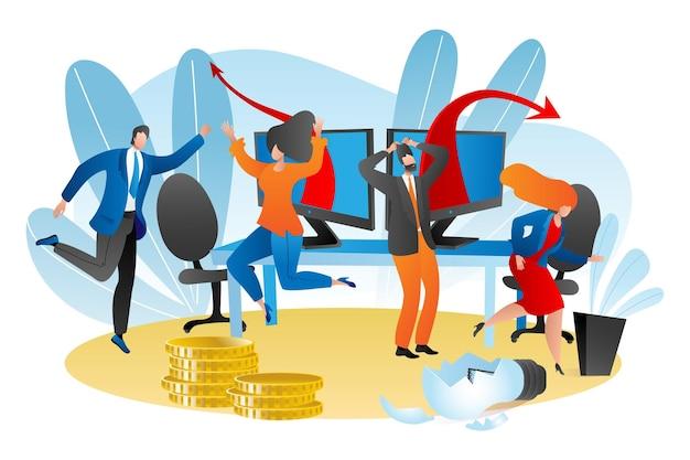 Problème de travail d'entreprise, illustration vectorielle. personnage homme femme stressé par la crise, idée de lampe cassée, graphique tombant à l'ordinateur. expression d'émotion au bureau, pièce d'or.