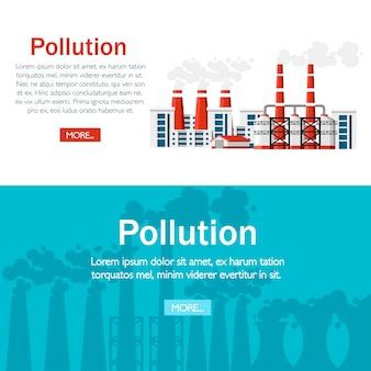 Problèmes de concept d'écologie. usines avec conduits de fumée. problème de pollution de l'environnement. usine de terre polluent avec du gaz carbonique. illustration. illustration sur fond blanc.