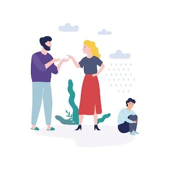Problèmes familiaux. père criant à la mère
