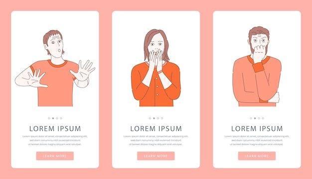 Problèmes mentaux ou écrans d'application mobile de conseil en psychologie. des hommes et des femmes effrayés, terrifiés et hystériques.