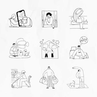 Problèmes sociaux pendant l'ensemble d'éléments de doodle de crise de coronavirus